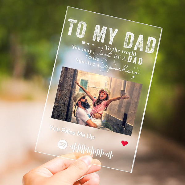 Father's Day Gift Personalised Photo Engraved Text Acrylic Plaque Best Dad Ever Gift for Dad