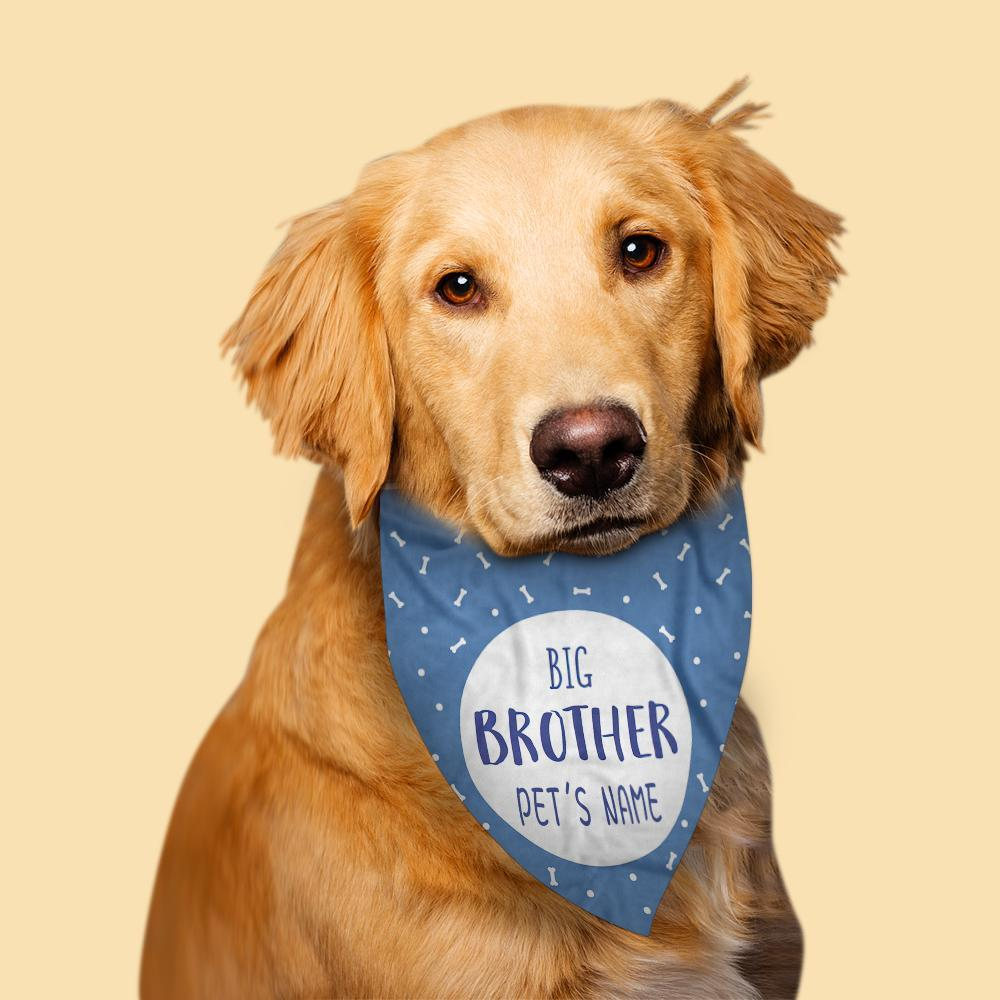Custom Dog Bandanas With Text Personalised Pet Blue Bandanas Gift
