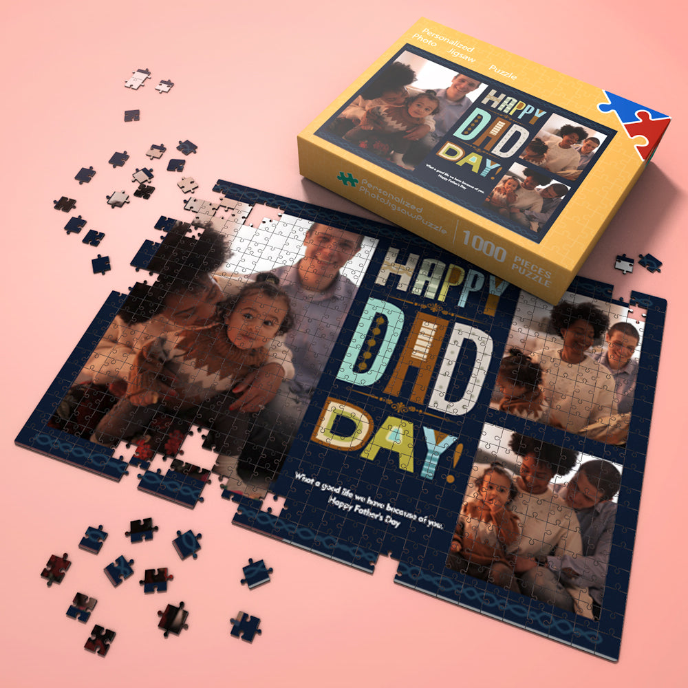 Custom Photo Jigsaw Puzzle From Picture Happy Dad Day Gifts 300-1000 pieces