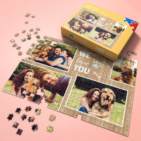Custom Photo Jigsaw Puzzle for Pet Lovers with 4 photos