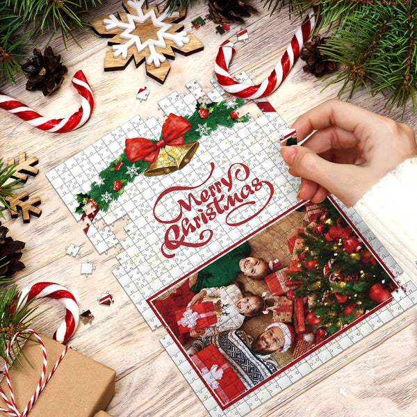 Custom Christmas Photo Jigsaw Puzzle 35-1000 Piece - Merry Christmas