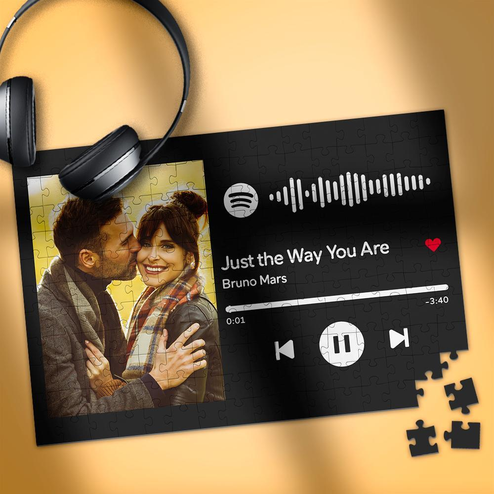 Custom Photo Spotify Music Code Puzzle black horizontal version Various Sizes Anniversary Gift