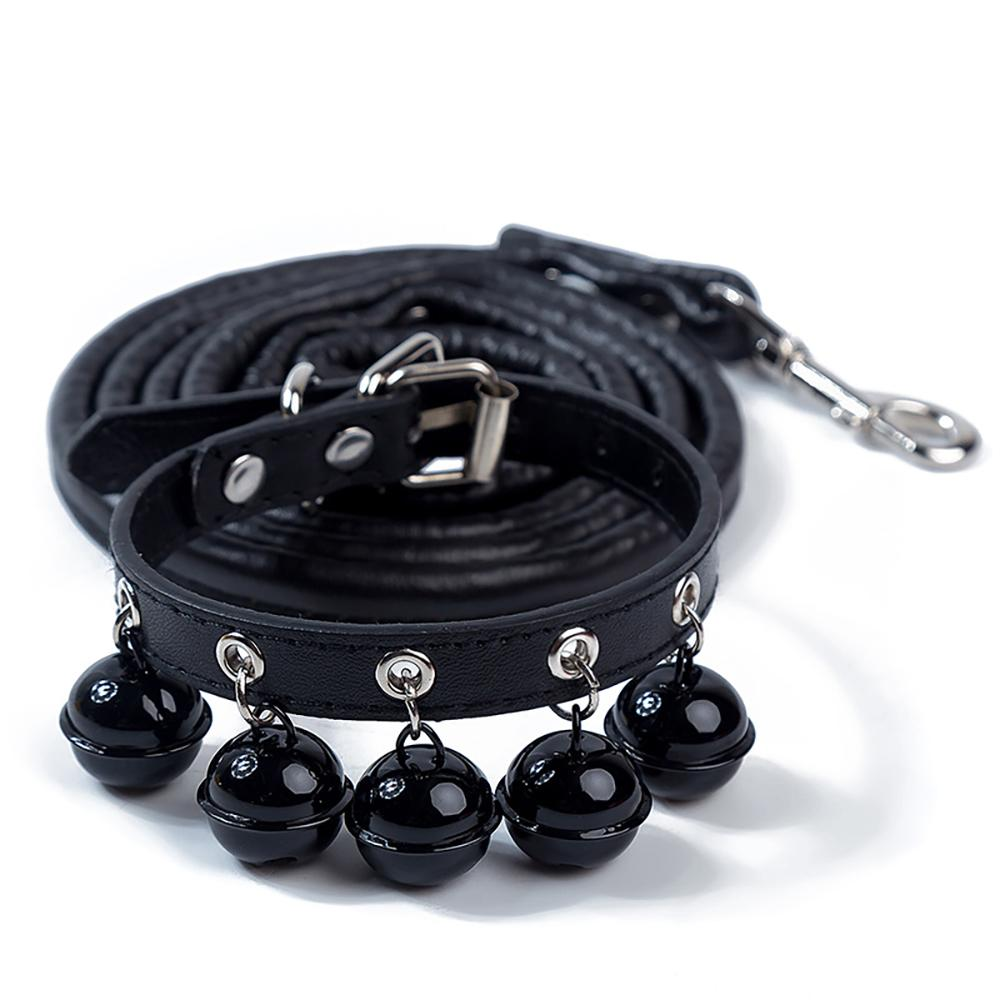 Leather Collar Pet Collar with Bell Black