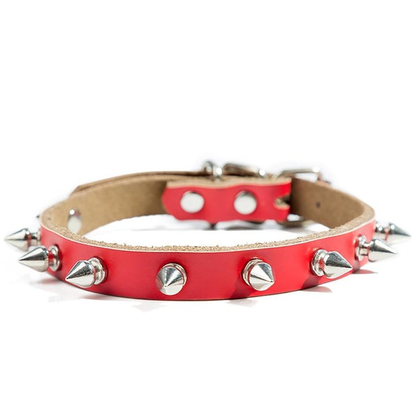 Wolf Collar Leather Collar Pet Collar Red