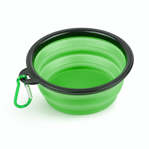 Silicone Pet Bowl Portable Collapsible Pet Bowl Green
