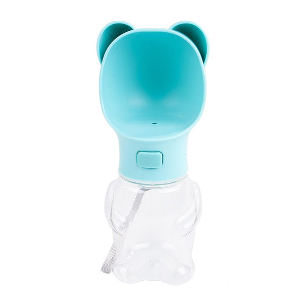 Dog/Cat Water Dispenser Bottle Outdoor Portable Travel Blue Bear