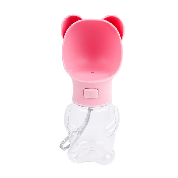 Dog/Cat Water Dispenser Bottle Outdoor Portable Travel Pink Bear