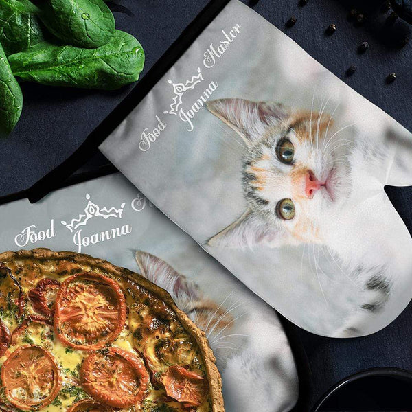 Engraved Photo Oven Mitts & Pot Holders Oven Glove Cute Cat