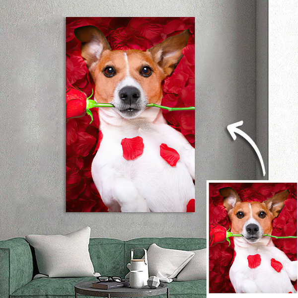 Custom Cute Dog Photo Painting Canvas Personalized Wall Art Decor Unique Gift