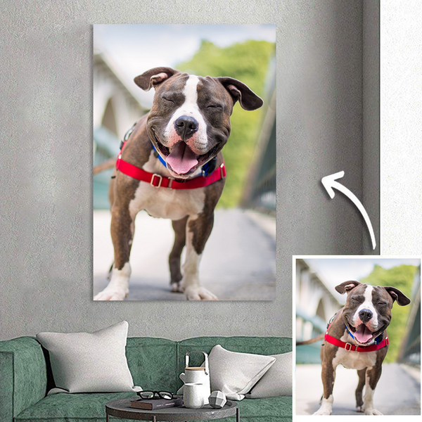 Custom Pet Photo Painting Canvas Personalized Wall Art Decor Unique Gift