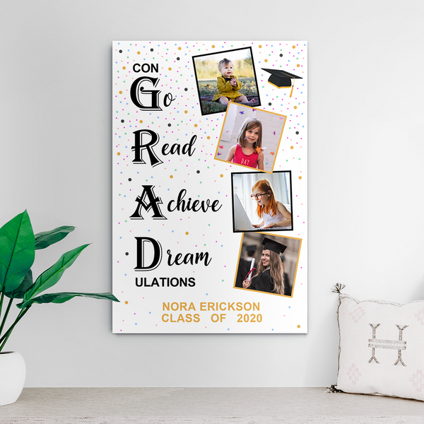 Custom Photo Collage Canvas - Congratulations You Graduated with photos & text  8*12inch