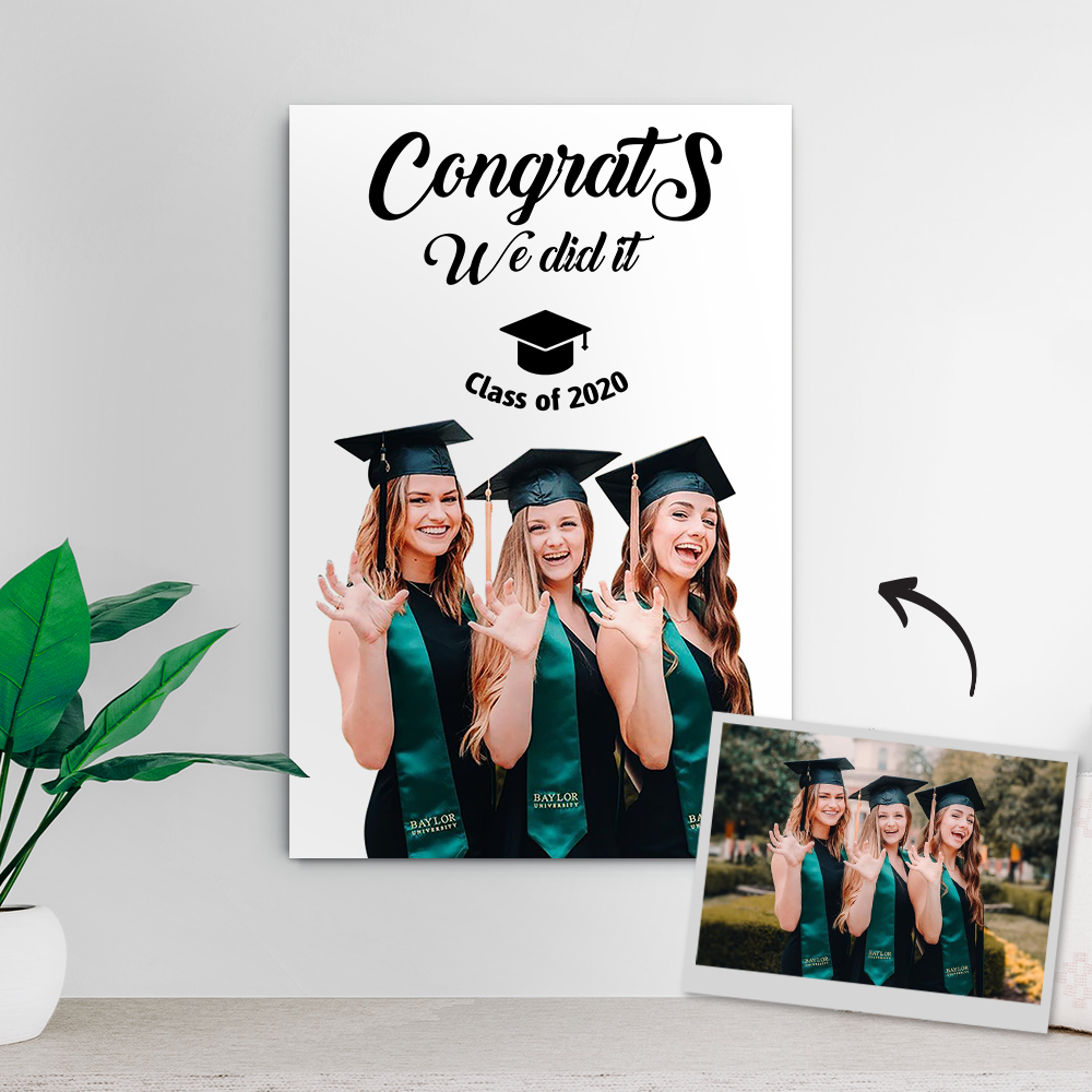 Custom Photo Canvas - Congrats you did it with photo 8*12inch