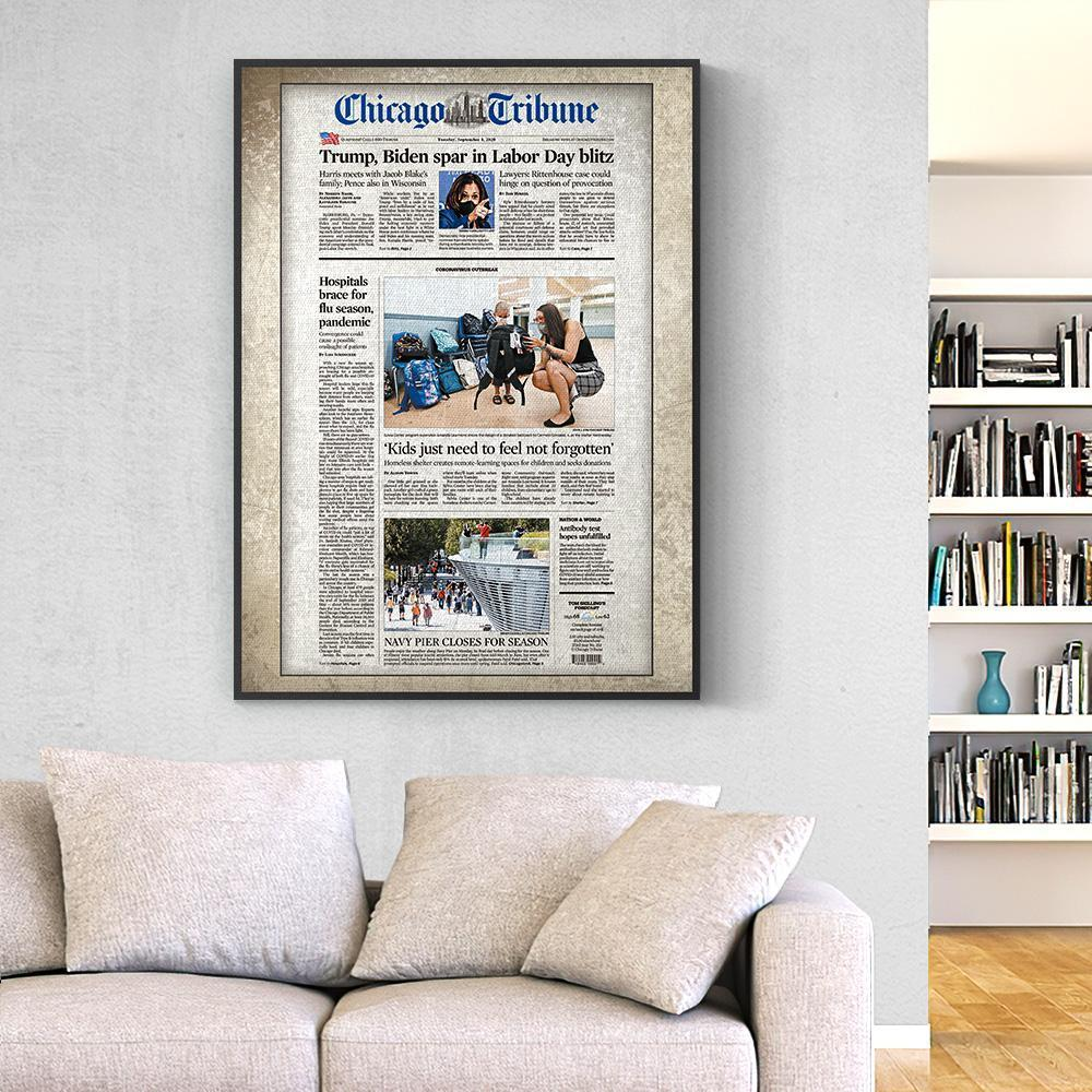 Chicago Tribune Canvas  Personalized From A Specific Date Your Memory Day Birthday Gifts