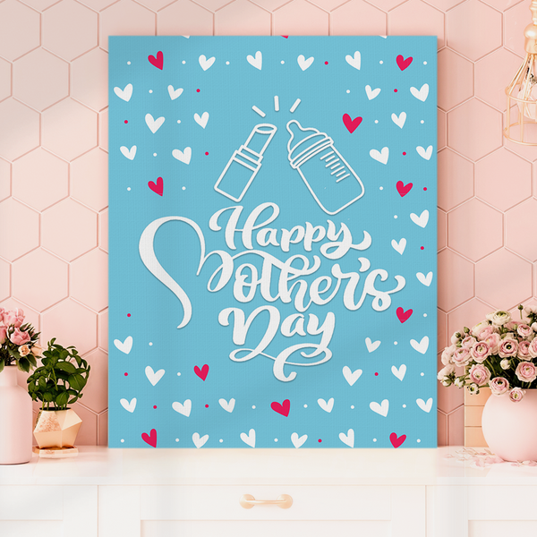 Vertical Version Happy Mother's Day Painting Canvas-Lipstick and Heart