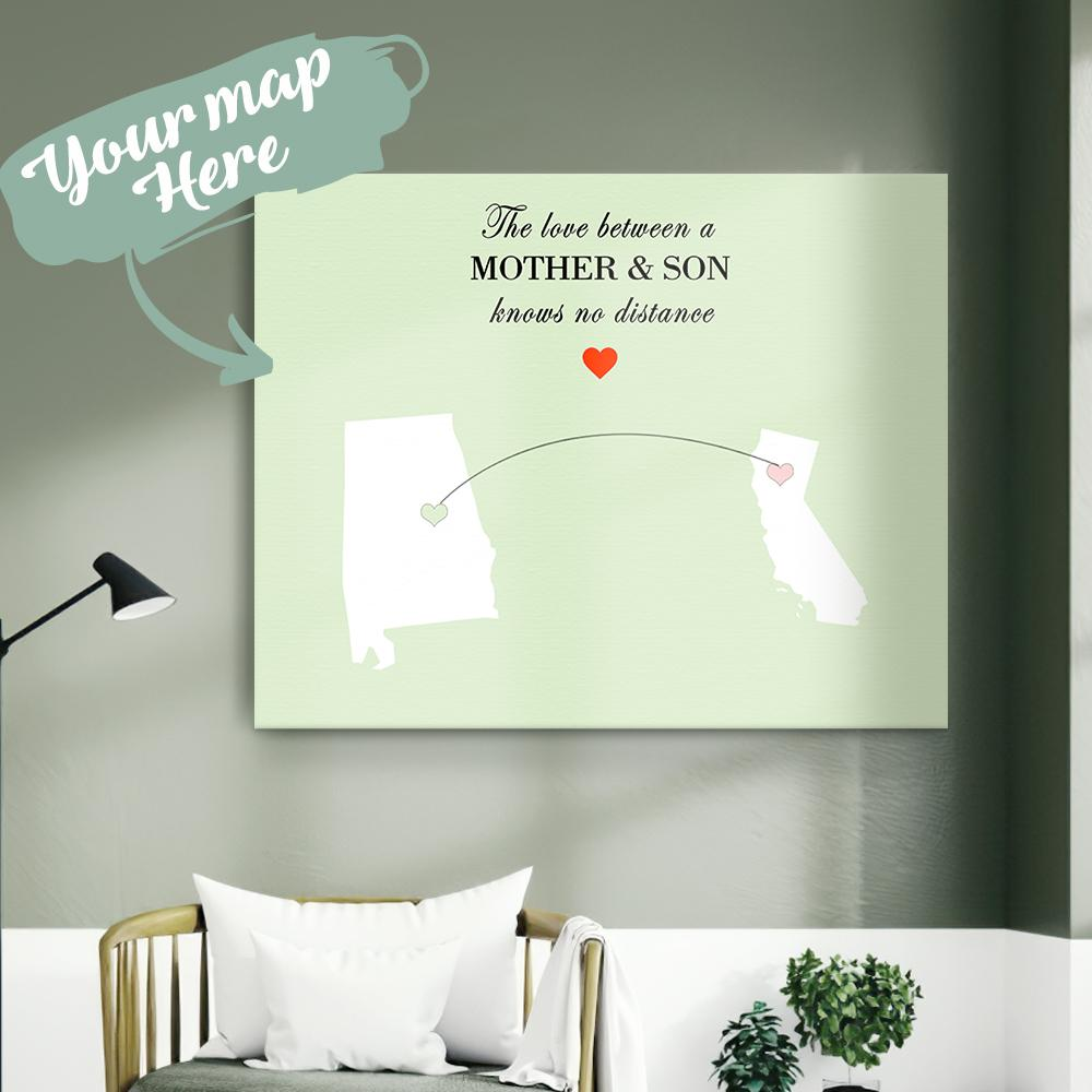 Mother's Day Gift Custom Painting Canvas Personalized Two State Painting Canvas-The Love Between A MOTHER & SON Knows No Distance State Painting Canvas