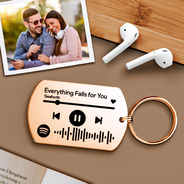 Personalised Scannable Music Spotify Code Keychain Custom Laser Engrave Stainless Steel Rose Gold Spotify Code Keychain