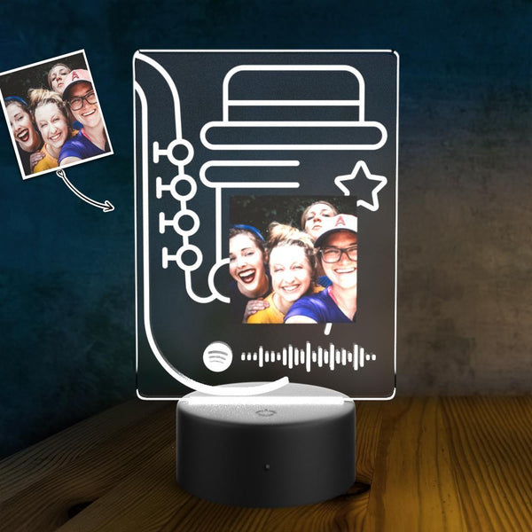 Custom Song Plaque Scannable Spotify Code Personalized Photo LED Night Lamp Unique Gift Gifts for Him