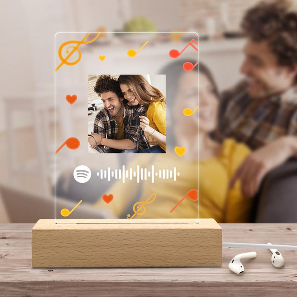 Personalized Photo Led Light Music Spotify Code Engraving Night Light Unique Gift