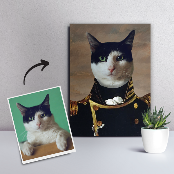Custom Pet Cat Canvas - The Admiral-DIY frame