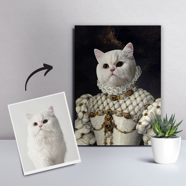 Custom Pet Cat Canvas - The Princess-DIY Frame