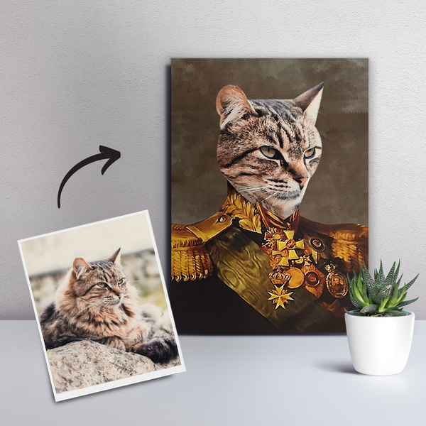 Custom Pet Cat Canvas - The General-DIY Frame