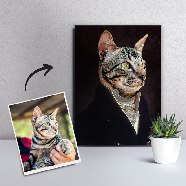 Custom Pet Cat Canvas - The Noble-DIY Frame