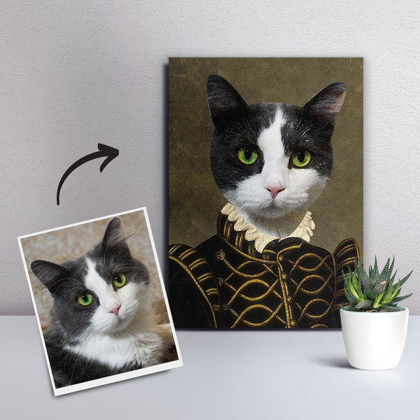 Custom Pet Cat Canvas - The Count-DIY Frame