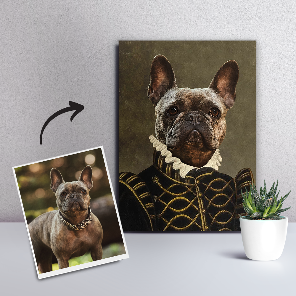 Custom Pet Dog Canvas- The Count-DIY Frame