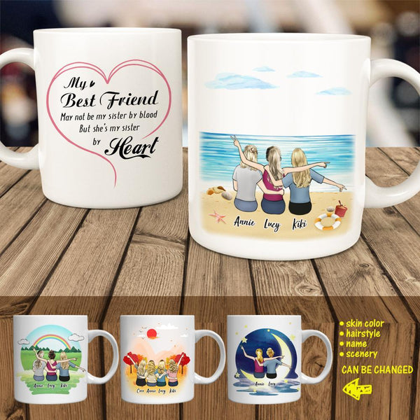 Personalized Best Friends Coffee Mug - 2-5 Members (online design & 3D preview)