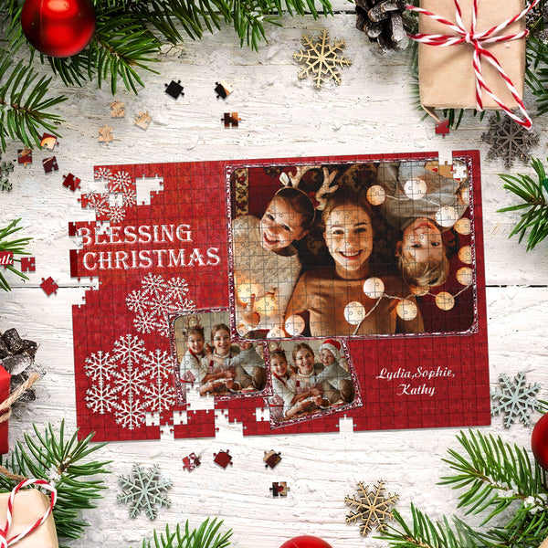 Custom Christmas Puzzle Personalized Photo Print Jigsaw Puzzle 35-1000 Pieces Puzzle for Adults Teens Christmas