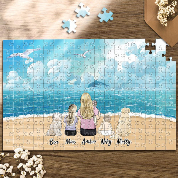 Custom Jigsaw Puzzle Gifts 35-1000 Pieces-Enjoy The Moment With Your Family Friend Pets