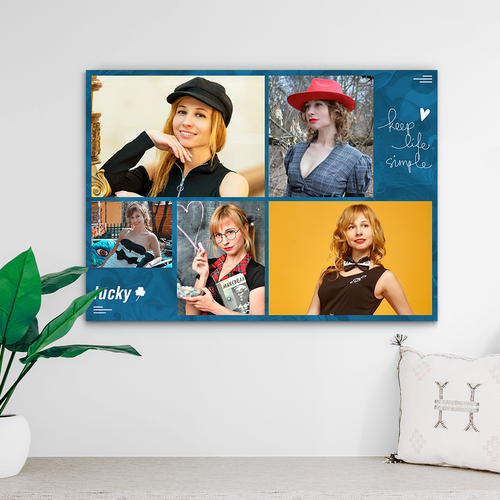 Custom Photo Collage Print-Photo Transfer To Canvas(Upload 5 Pictures)