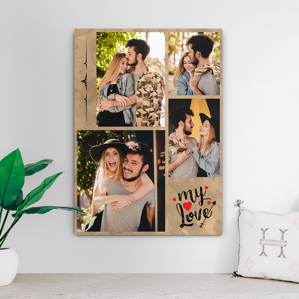 Custom Photo Collage Print-My Love For Couple(Upload 4 Pictures)