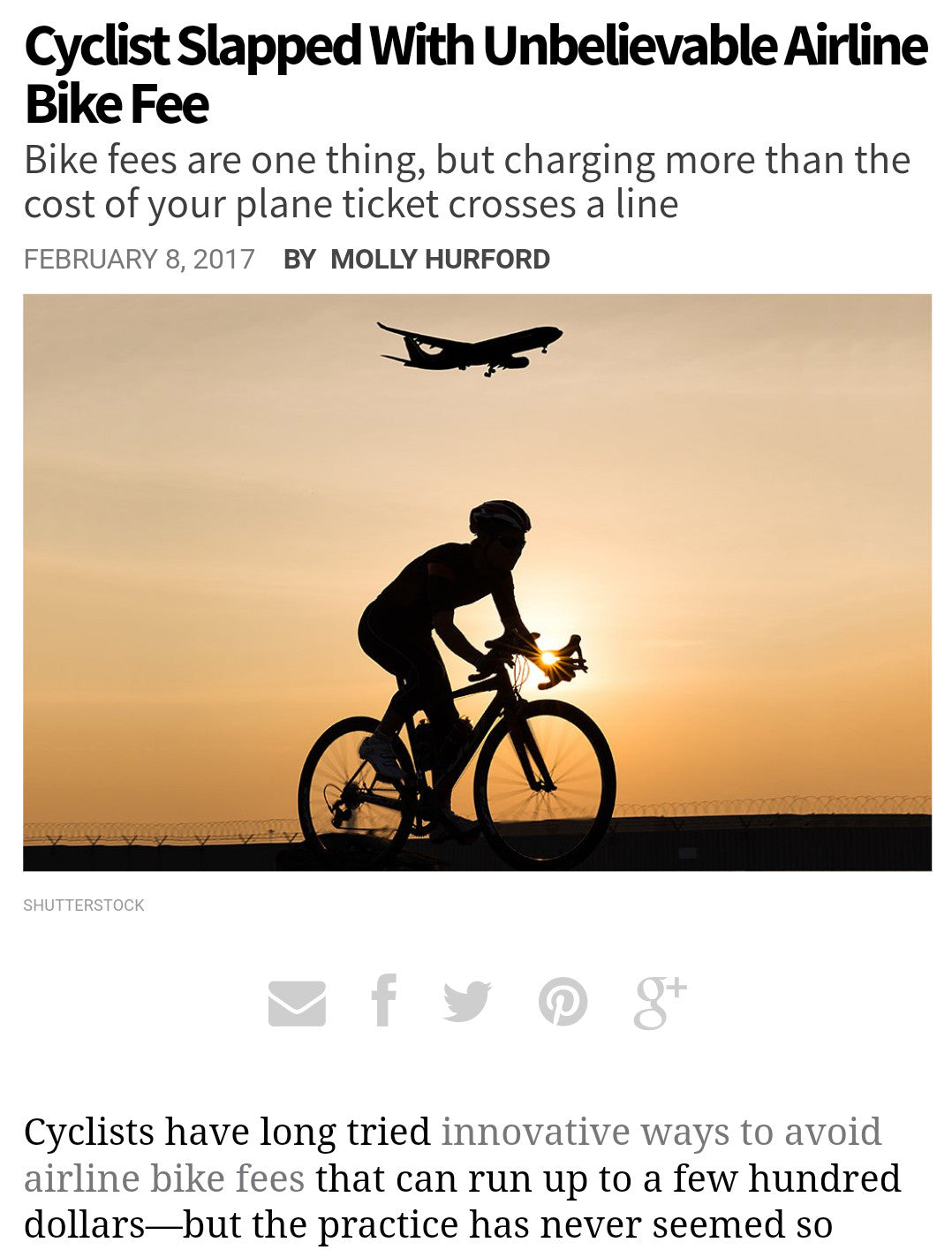 Can You Believe How Much This Junior Cyclist Was Charged To Fly With His Bike?