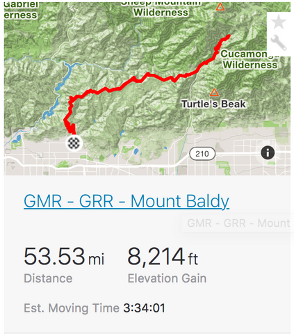 Glendora Mountain+Ridge Mount Baldy Strava Screenshot