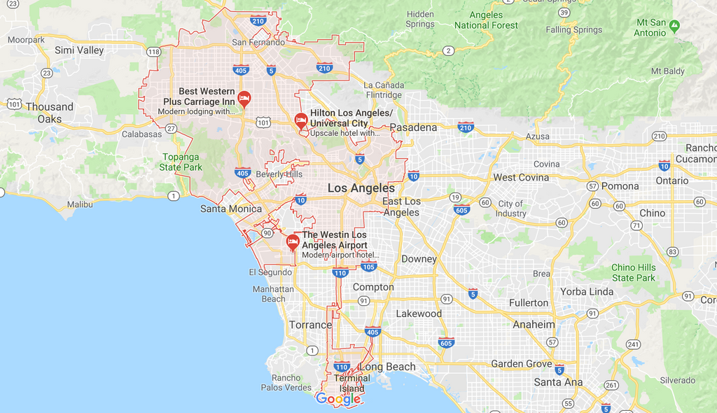 Los Angeles Area google maps screenshot