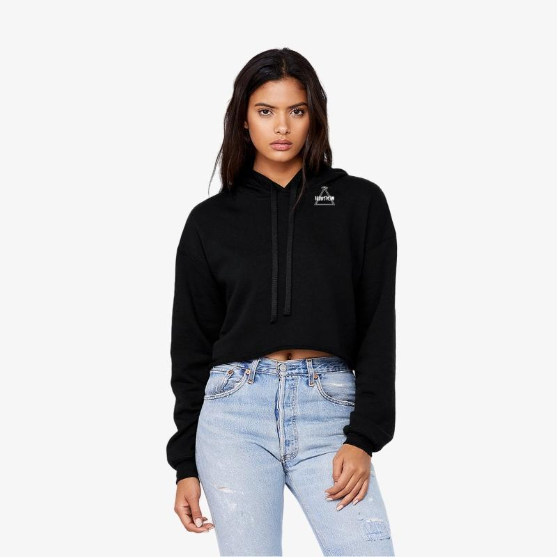 Crop Hoodie - Black - Illusion Apparel Co.