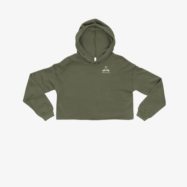 Crop Hoodie - Olive Green - Illusion Apparel Co.