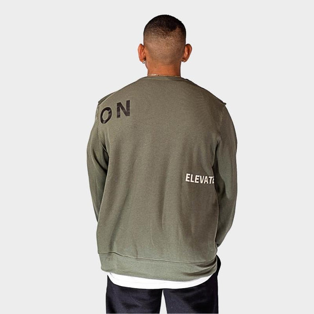 ELEVATE CREWNECK SWEATSHIRT- ARMY GREEN - Illusion Apparel Co.