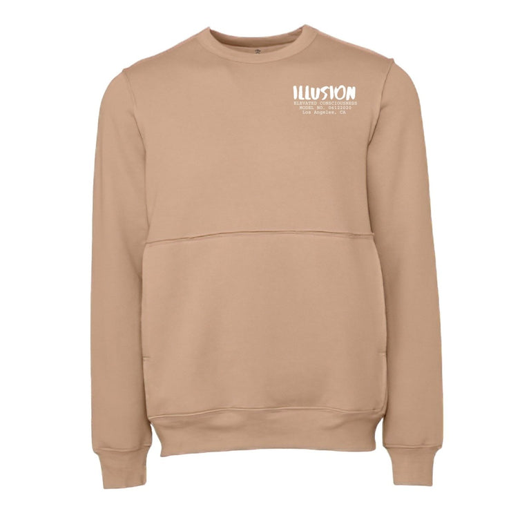 MINIMALIST CREWNECK SWEATSHIRT - TAN - Illusion Apparel Co.