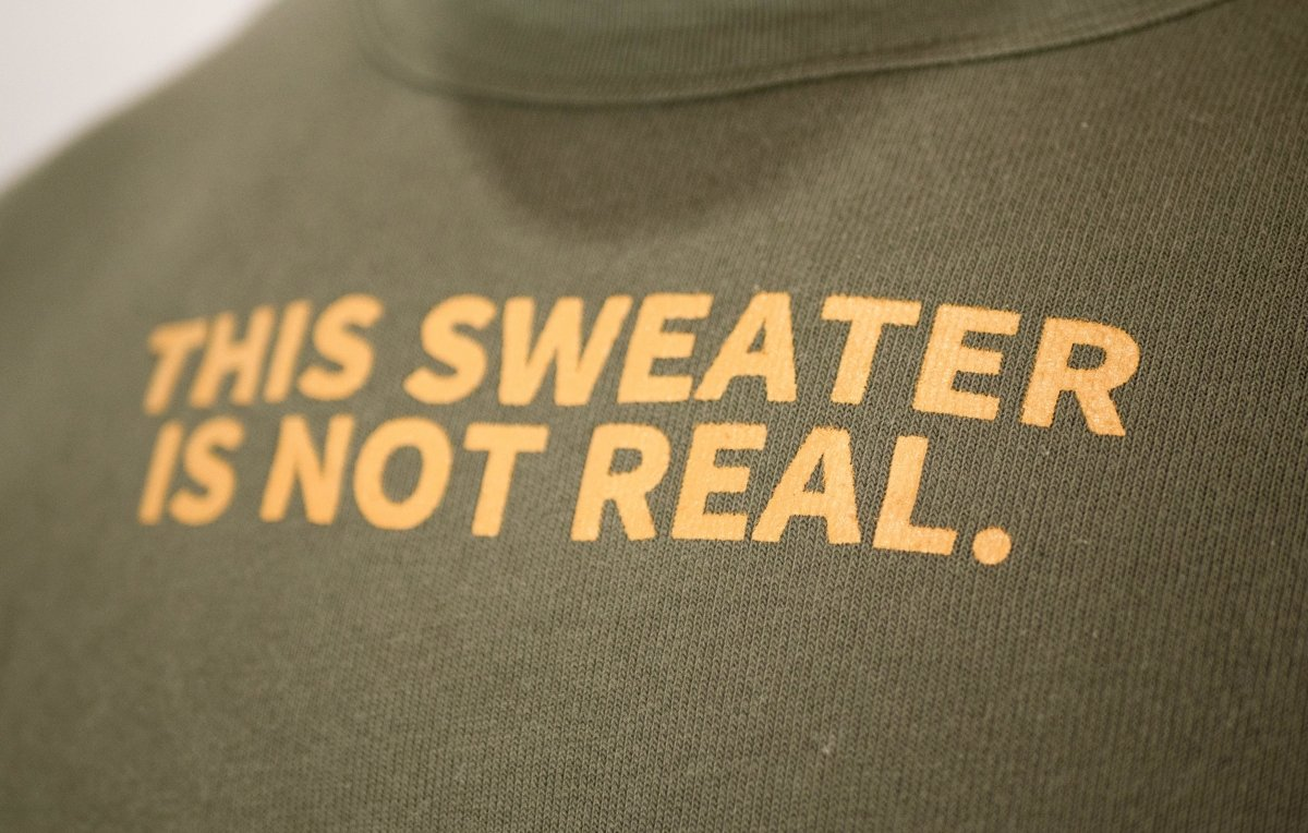 THIS SWEATER IS NOT REAL CREWNECK SWEATSHIRT - ARMY GREEN - Illusion Apparel Co.