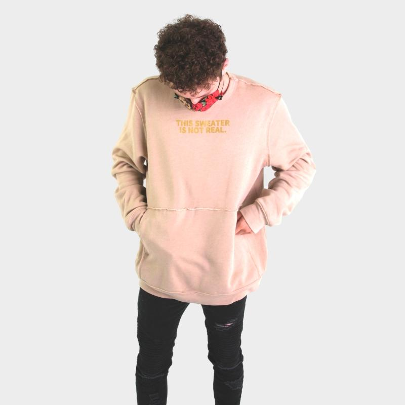 THIS SWEATER IS NOT REAL CREWNECK SWEATSHIRT - TAN - Illusion Apparel Co.