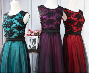 Elegant Black Lace Red Gown - Gift Canadian