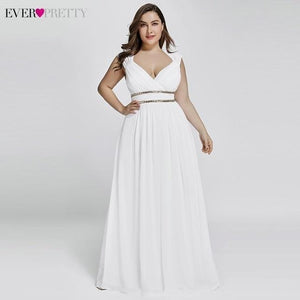 Long Women's Elegant V Neck Chiffon Empire Gown - Gift Canadian