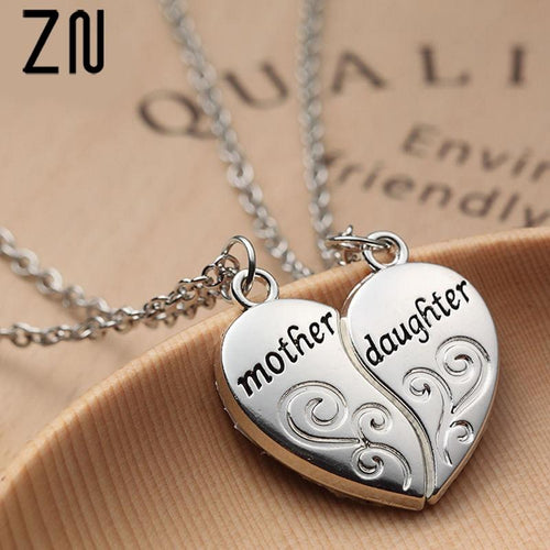 Mother and Daughter Heart Necklace - Gift Canadian