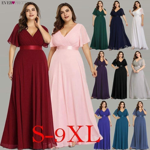 Plus Size Long Empire Waist Evening Dress - Gift Canadian