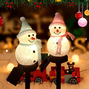 Solar Snowman Led Lamp Christmas Decoration - Gift Canadian