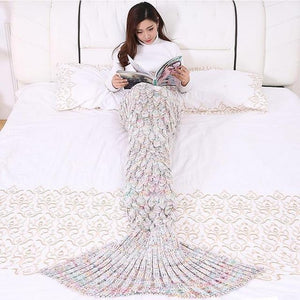 Soft Knitted Mermaid Tail Sleeping Blanket - Gift Canadian