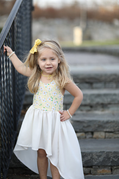 Pastel Yellow Stripe Floral High-Low Dress