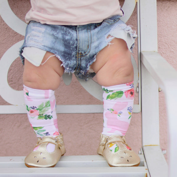 White Light Pink Bunny Floral Knee High Socks